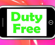 Duty Free On Phone Shows Tax Free Purchases Stock Photography