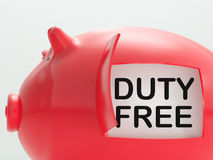 Duty Free Piggy Bank Means No Tax On Products Royalty Free Stock Photos