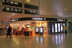 Duty free shop in airport, Munich, Germany. stock photos