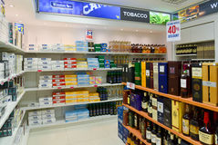Duty free shop alcohol and cigarettes Royalty Free Stock Photo