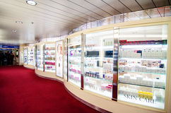 Duty free shop on cruise boat Stock Photo