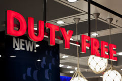 Duty Free Shop Sign Royalty Free Stock Photo