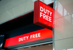 Duty free shop sign in Vnukovo airport at evening Royalty Free Stock Photography