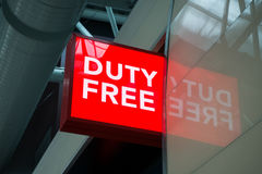 Duty free shop sign in Vnukovo airport at evening Royalty Free Stock Image