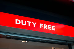 Duty free shop sign in Vnukovo airport at evening Royalty Free Stock Photo