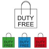 Duty Free Shopping Bag - Colourful Vector Icons. Isolated On White Background Royalty Free Stock Image