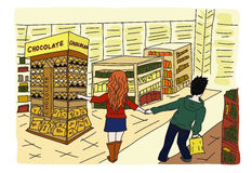 Duty Free Shopping. Loving couple in the duty free stock illustration