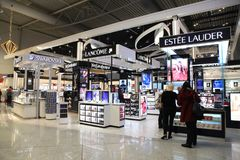 Duty free shops at Eleftherios Venizelos airport in Athens, Greece stock photos