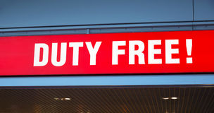 Duty free sign in airport Stock Photo