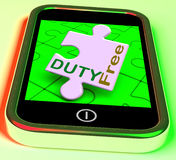 Duty Free On Smartphone Shows Tax Free Purchasing Royalty Free Stock Images