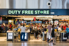 Duty Free Store at the international airport of Antalya Stock Images