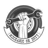 Duty mechanic. Mechanic on duty vector logo template Royalty Free Stock Photos