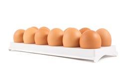 Dutzend von Eiern in einem Kasten lokalisiert Lizenzfreie Stockfotos