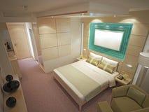 Duur binnenland van eigentijdse slaapkamer Stock Foto