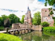 Duurstede castle with Burgundian tower and donjon in Wijk bij Du. Duurstede castle with donjon, Burgundian tower and bridge over moat in Wijk bij Duurstede in Royalty Free Stock Photography