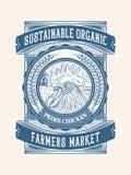Duurzaam organisch kip de landbouw verpakkingsontwerp 1 stock afbeelding