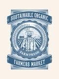 Duurzaam organisch landbouwbedrijf vers verpakkingsontwerp royalty-vrije stock afbeelding