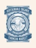 Duurzaam organisch rundvlees de landbouw verpakkingsontwerp 1 royalty-vrije stock foto