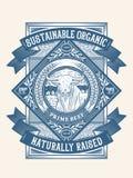Duurzaam organisch weiland opgeheven kenteken 2 stock afbeeldingen