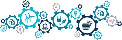"""Duurzame energie pictogram bronnen van de concepten†de """"alternatieve elektriciteit: wind, zonnemacht, hydroelektriciteit, geoth vector illustratie"""
