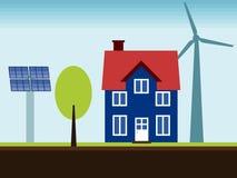 Duurzame energiehuis Royalty-vrije Stock Foto