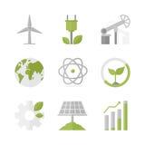 Duurzame ontwikkeling en groene geplaatste productie vlakke pictogrammen Stock Foto