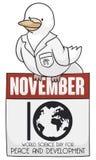 Duva över den lösblads- kalendern för världsvetenskapsdagen för fred, vektorillustration vektor illustrationer