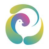 Duva i det abstrakta redet Logo Template royaltyfri illustrationer