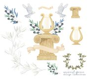 Duva och olivgrön antik duva, harpa och colonum för fred för fluga för fågel för vattenfärg för konst för stolpeuppsättninggem di stock illustrationer