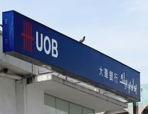 Duva som sätta sig på UOB-skylten royaltyfri fotografi