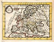 Duval-Antiken-Karte 1663 von Europa Lizenzfreies Stockbild