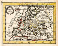 1663 Duval Antique Map of Europe. It is a 17th century antique copper engraved map with hand color outlining and yellow frame illustrating the various border Vector Illustration