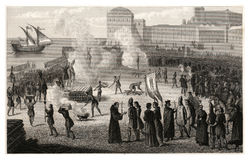 1847Antique Print: Burning of Heretics during the Spanish Inquistion Royalty Free Stock Images