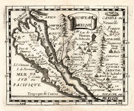 1663 Duval Map of Spanish New Mexico and California Island Stock Photography