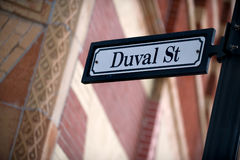 Duval St. Reet sign in Key West, Florida Keys Stock Photos