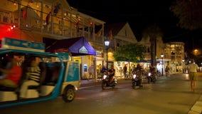 Duval-Straße nachts, Key West, FL stock video