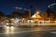Duval street at night, Key West, FL Stock Photo