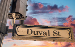 Duval street sign in Key West Stock Photos