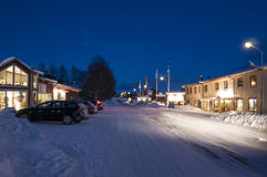Duved mountain village winter evening Stock Photography