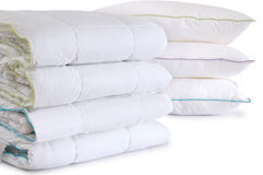 Duvet And Pillows. Isolated Stock Photo