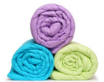 Duvet rolls. Isolated Stock Image