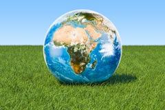 duvor för begreppsecofred Jorda en kontakt jordklotet på det gröna gräset mot blå himmel, 3D Royaltyfri Foto