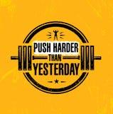 Duw Harder dan gisteren Sport de Inspirerende Training en Fitness Gymnastiekillustratie van het Motivatiecitaat vector illustratie