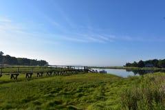 Duxbury海湾风景看法与豪华的绿色沼泽草的 图库摄影