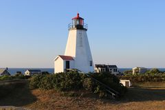 Duxbury Massachusetts Lighthouse. Daytime ready to warn ships Royalty Free Stock Photography