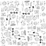 Duży doodle elementu szkoły ręki remis Obraz Royalty Free