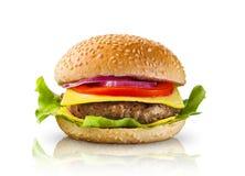 Duży hamburger na białym tle Zdjęcia Stock