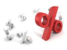 Duży indywidualny czerwony procentu znak na bielu Obraz Stock