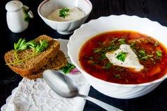 Duży puchar borscht z kwaśną śmietanką i ziele Fotografia Stock