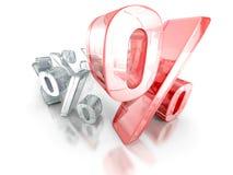 Duży różny czerwony procentu znak na białym tle Zdjęcie Royalty Free